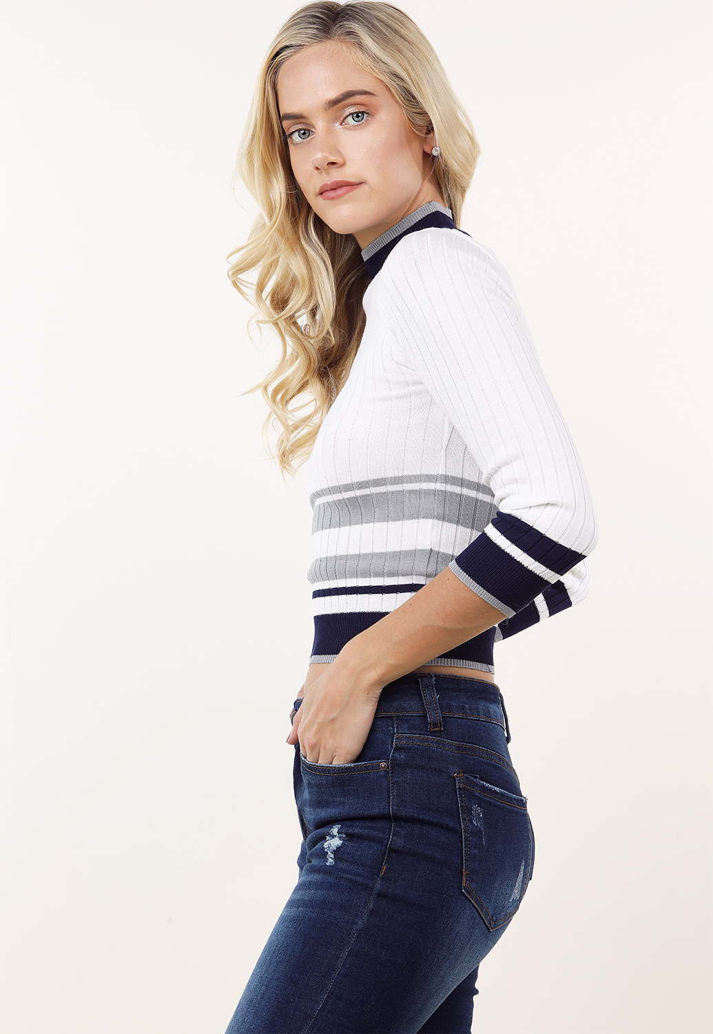 Ribbed Mock Neck Knit Top