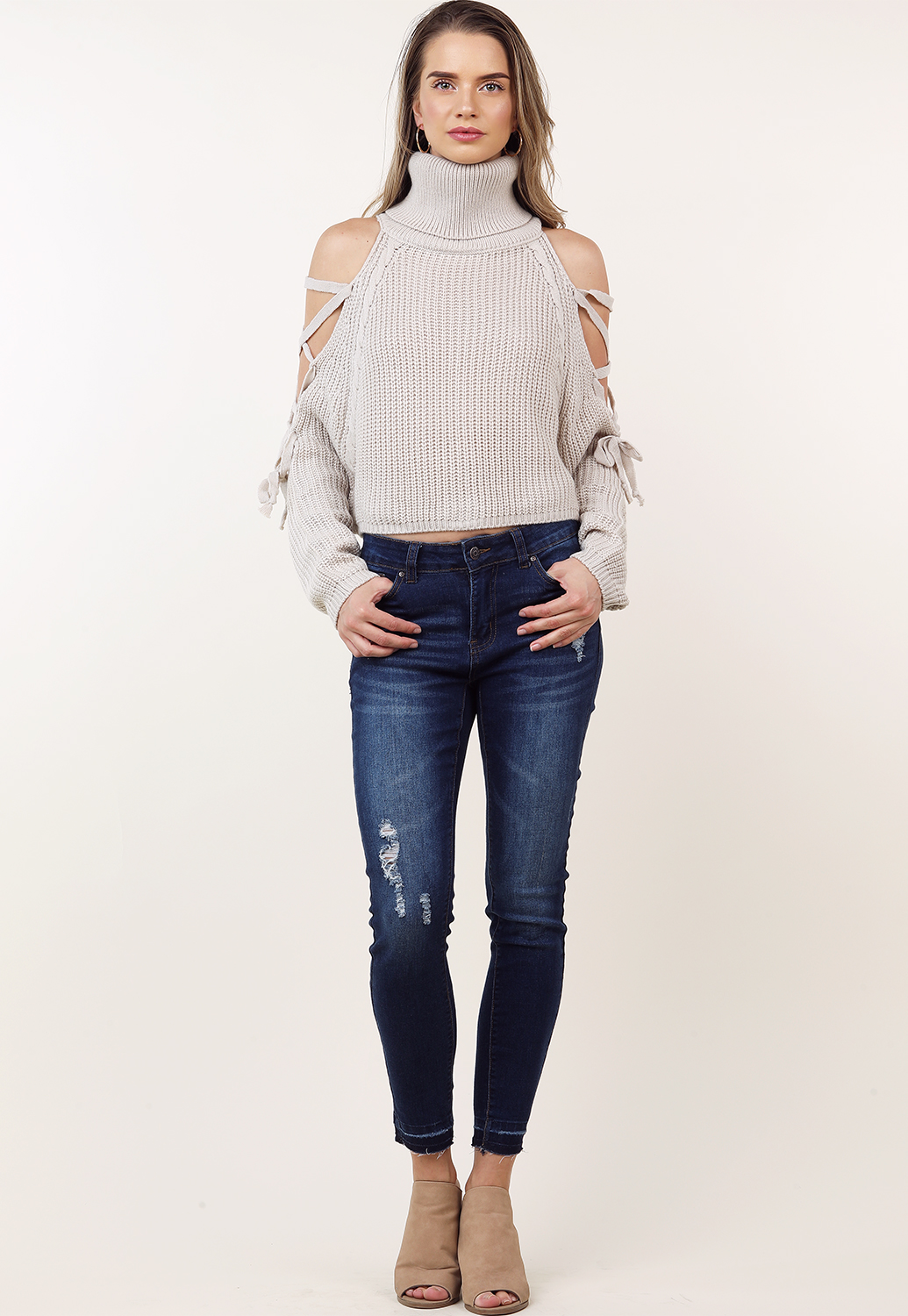 e3b42f17a7f Lace Up Sleeve Open Shoulder Knit Sweater