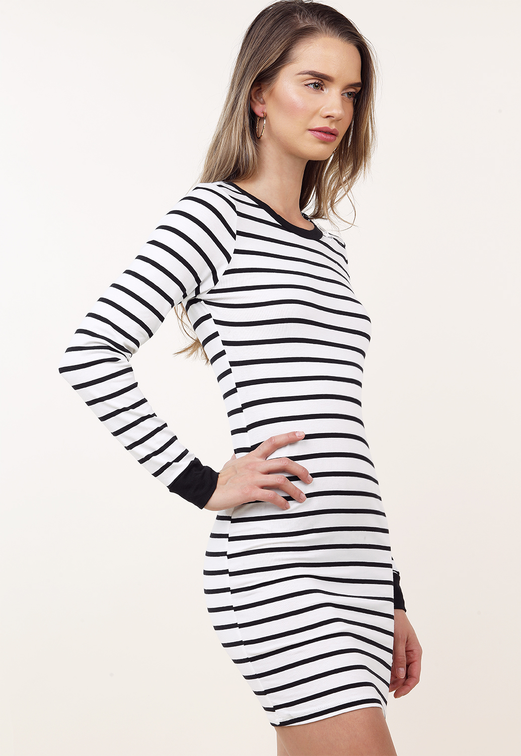 Striped Long Sleeve Mini Dress