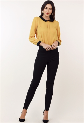 Contrast Long Sleeve Dressy Top