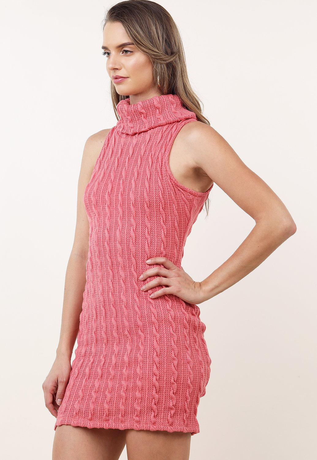 Knit Turtleneck Mini Dress
