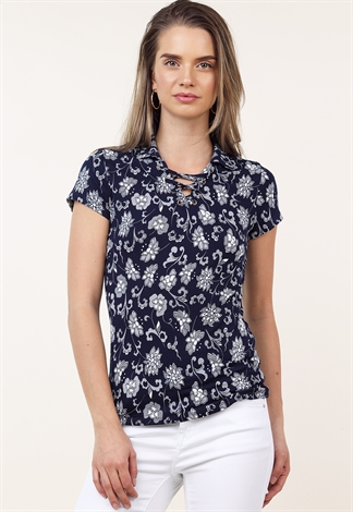 Floral Front Lace Up Detail Top