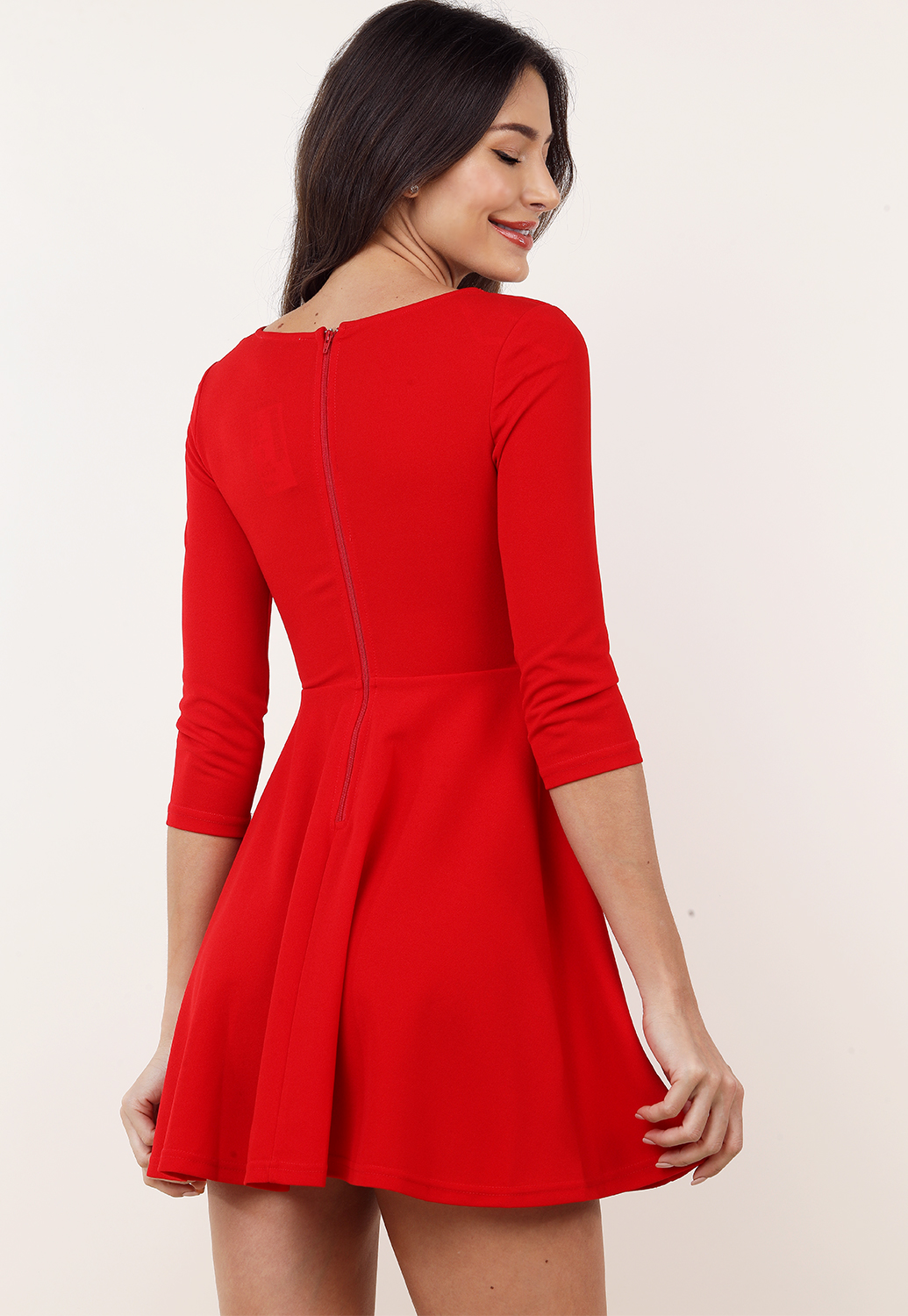 Scalloped Detail Fit And Flare Mini Dress