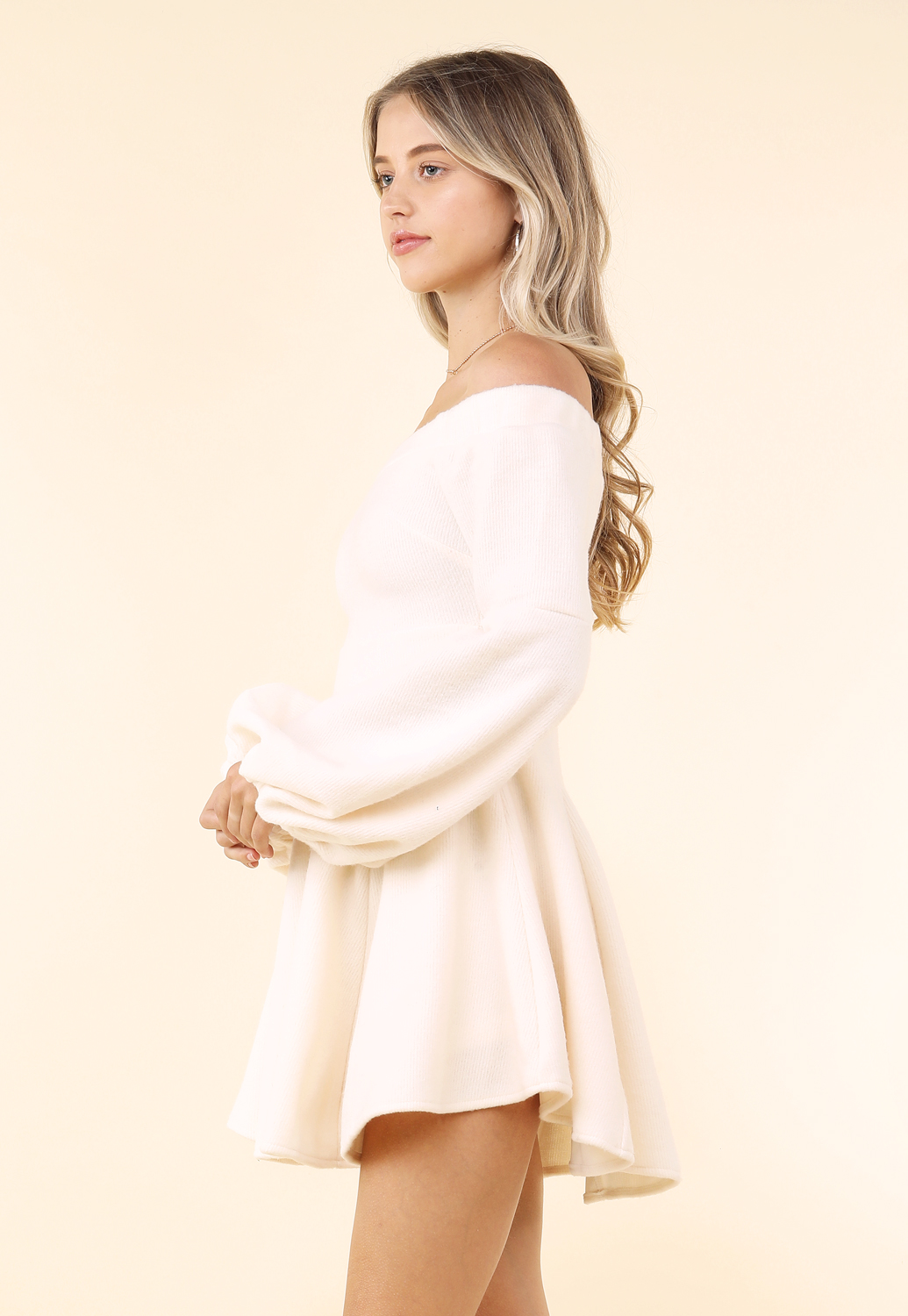 Balloon Sleeve Fit And Flare Dress