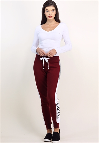 Side Colorblock Love Graphic Joggers