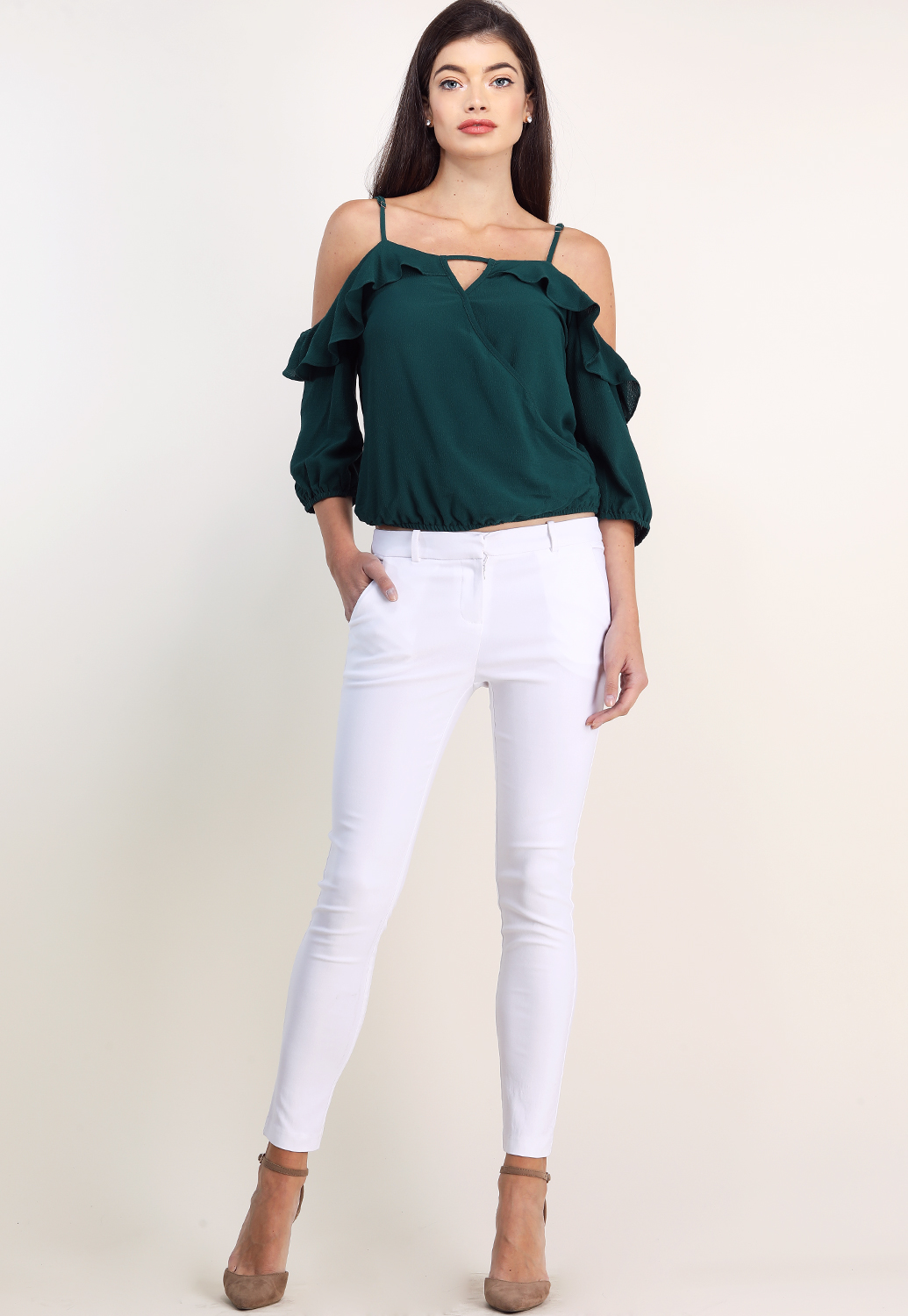 Ruffle Detail Open Shoulder Top