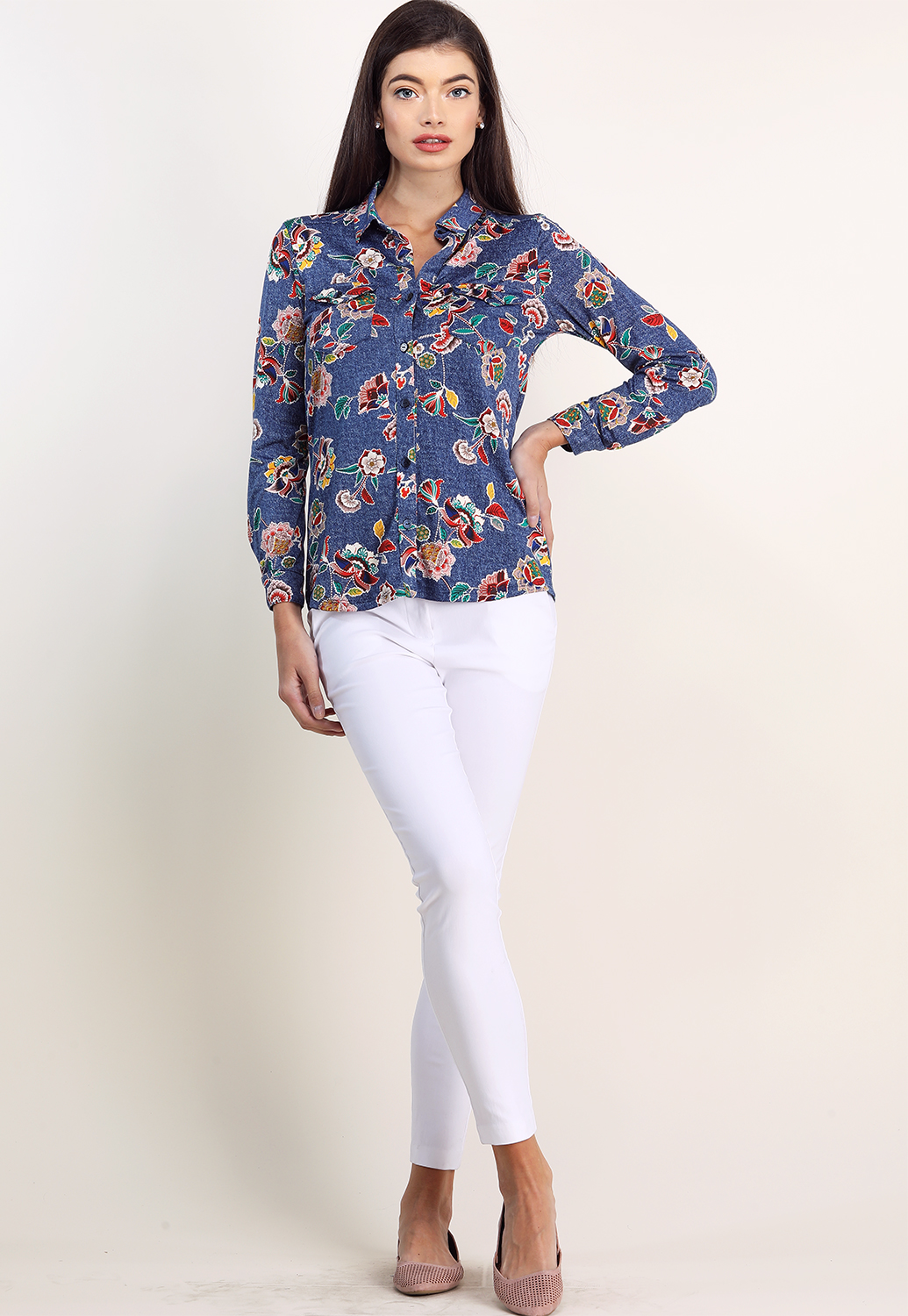 Floral Long Sleeve Dressy Blouse