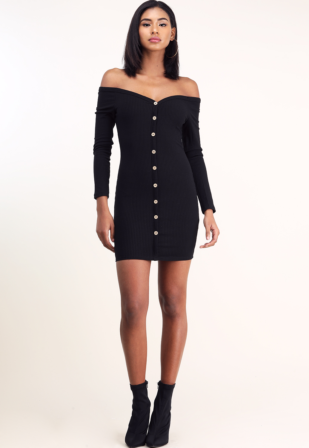 Off The Shoulder Front Button Detail Mini Dress