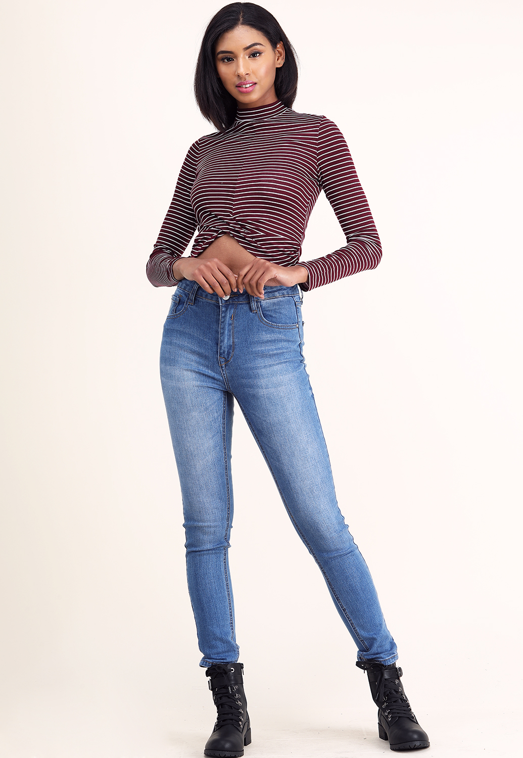 High Neck Striped Front Twist Top