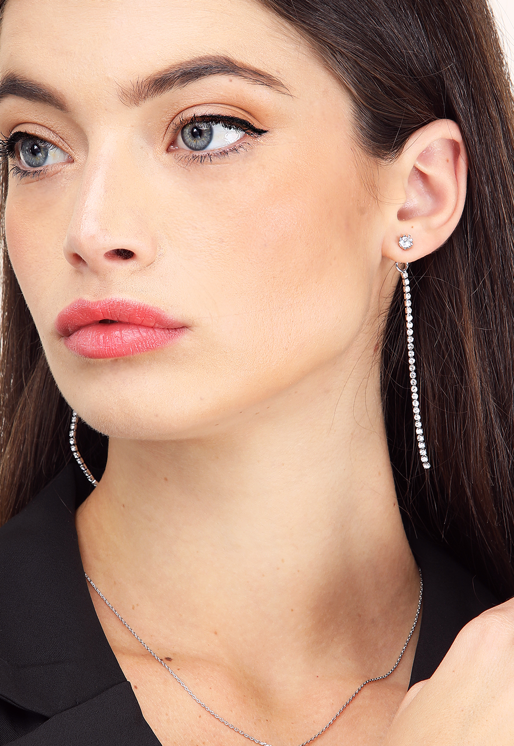 Tiered Rhinestone Drop Earrings