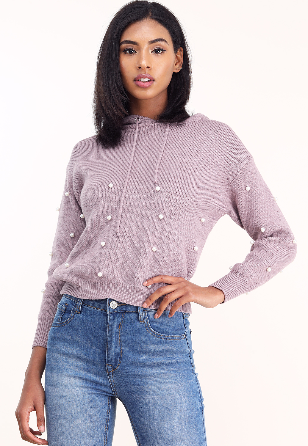 Faux Pearl Accented Hoodie Sweater