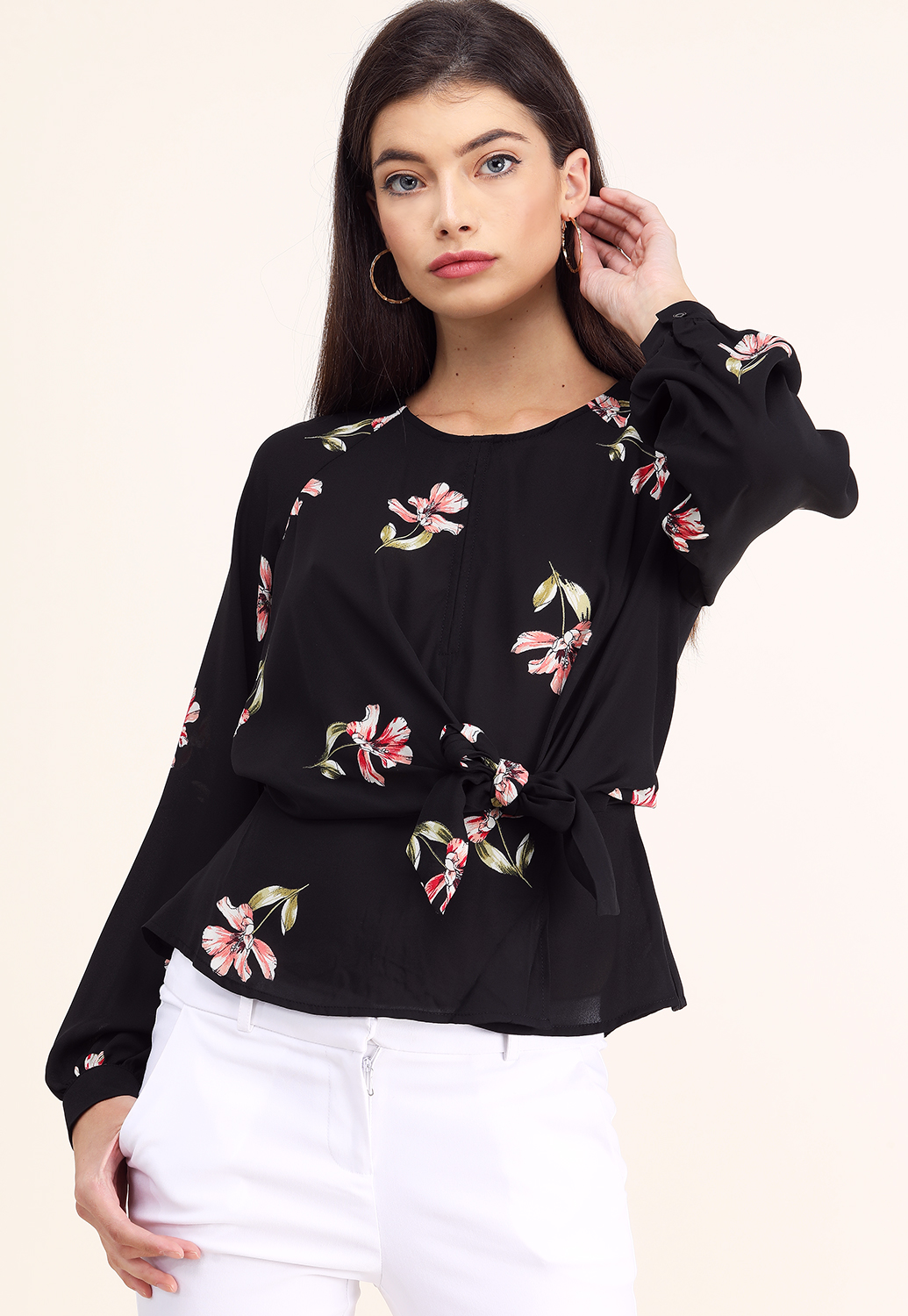 Floral Back Cutout Detail Top