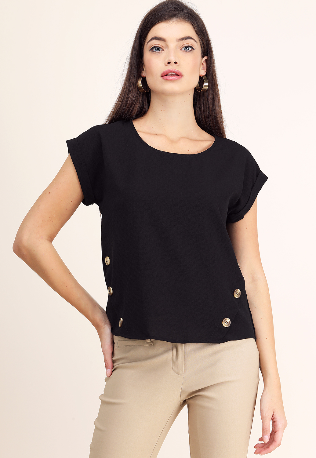 Side Button Detail Dressy Top