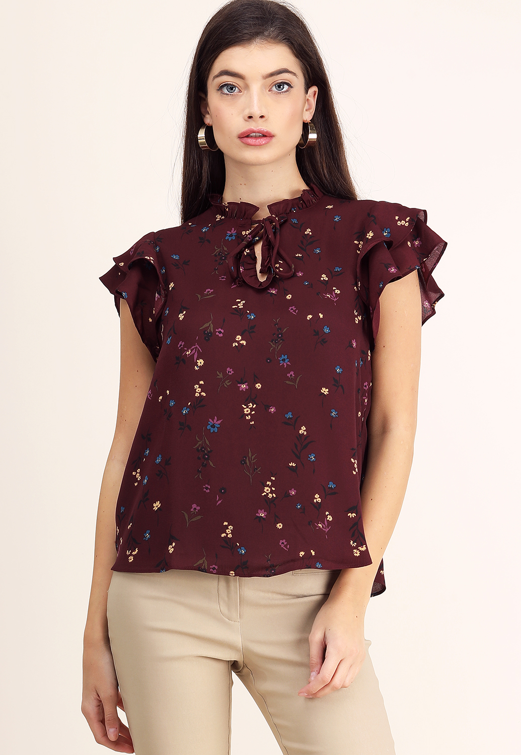 Ruffle Detail Floral Top