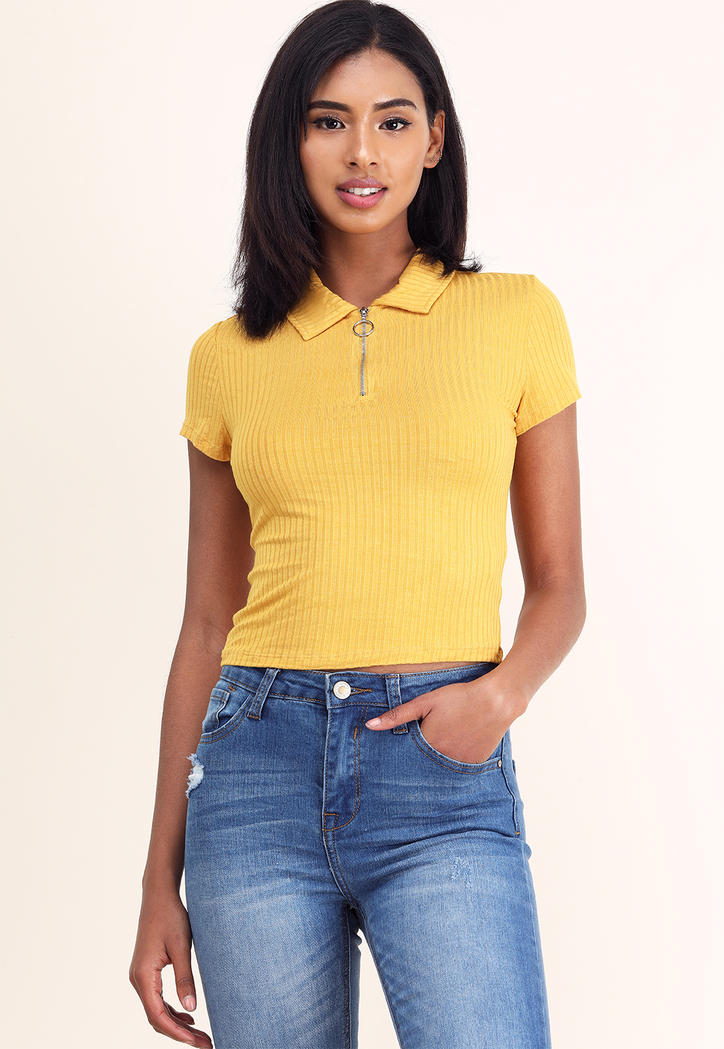 Zipper Up Lined Ribbed Top