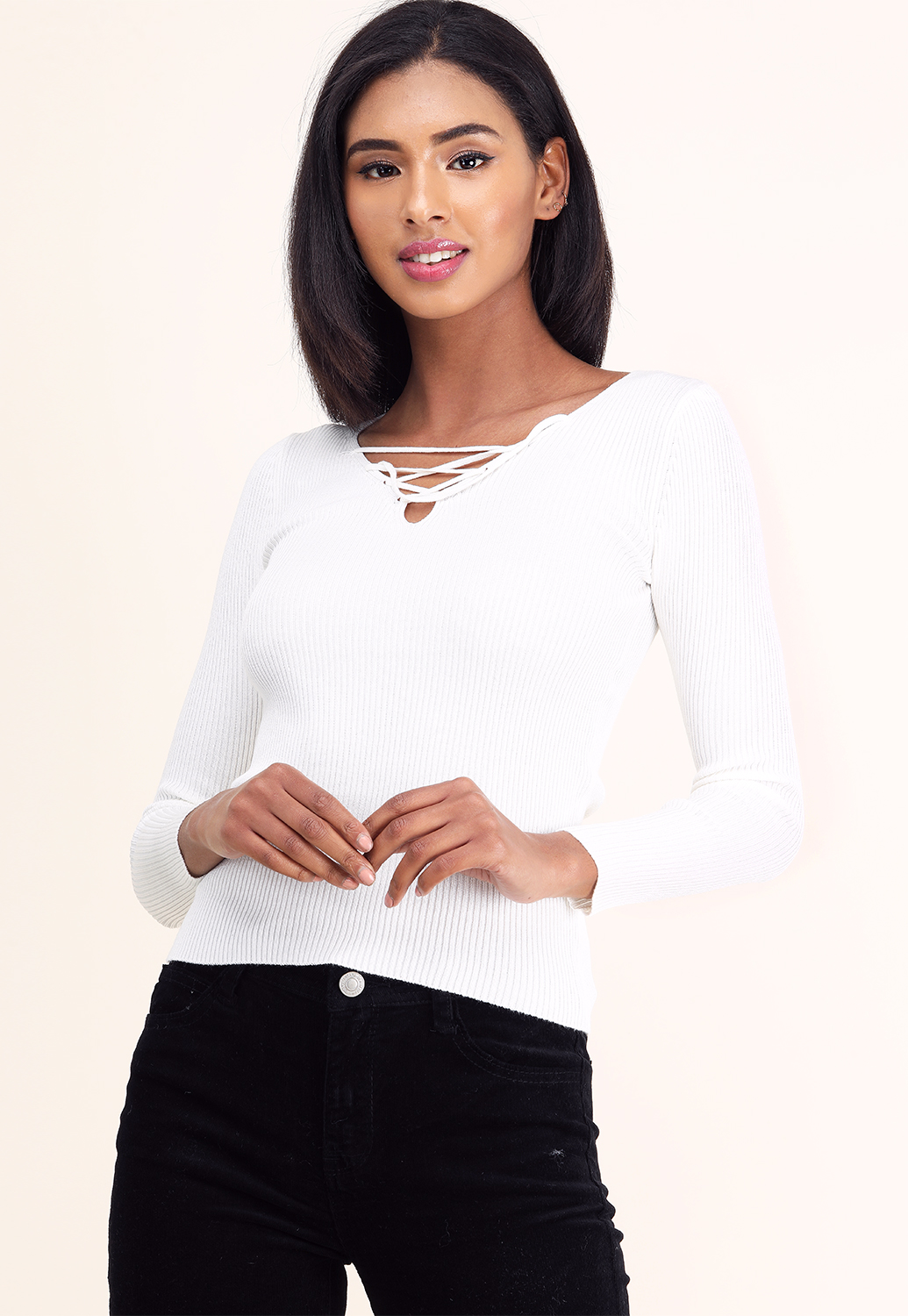 Criss-Cross Ribbed Knit Top