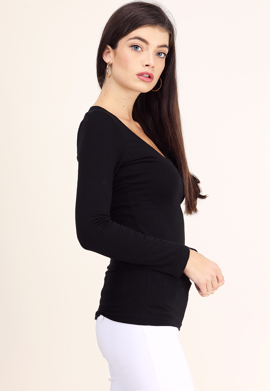 Classic V-Neck Long Sleeve Top