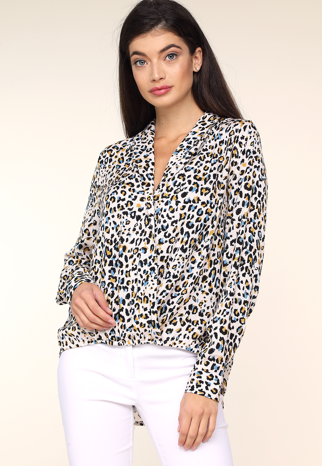 Surplice Cheetah Print Blouse