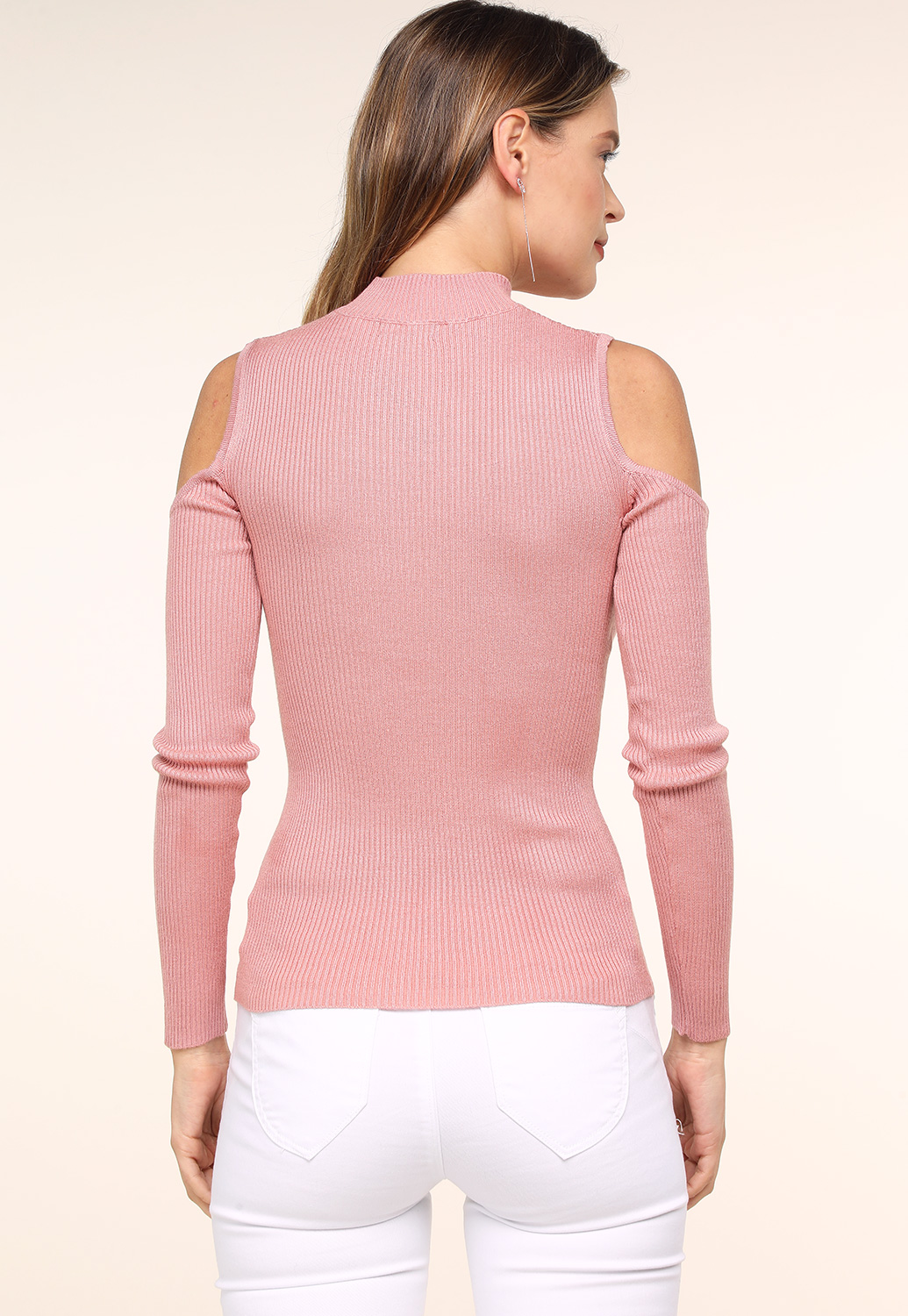 Open-Shoulder Knit Sweater