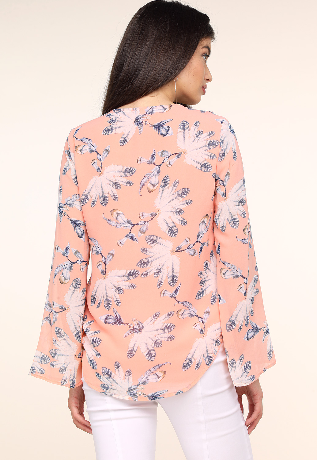 Floral Ruffle Detail Long Sleeve Blouse