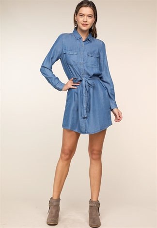 Tie Front Denim Mini Dress