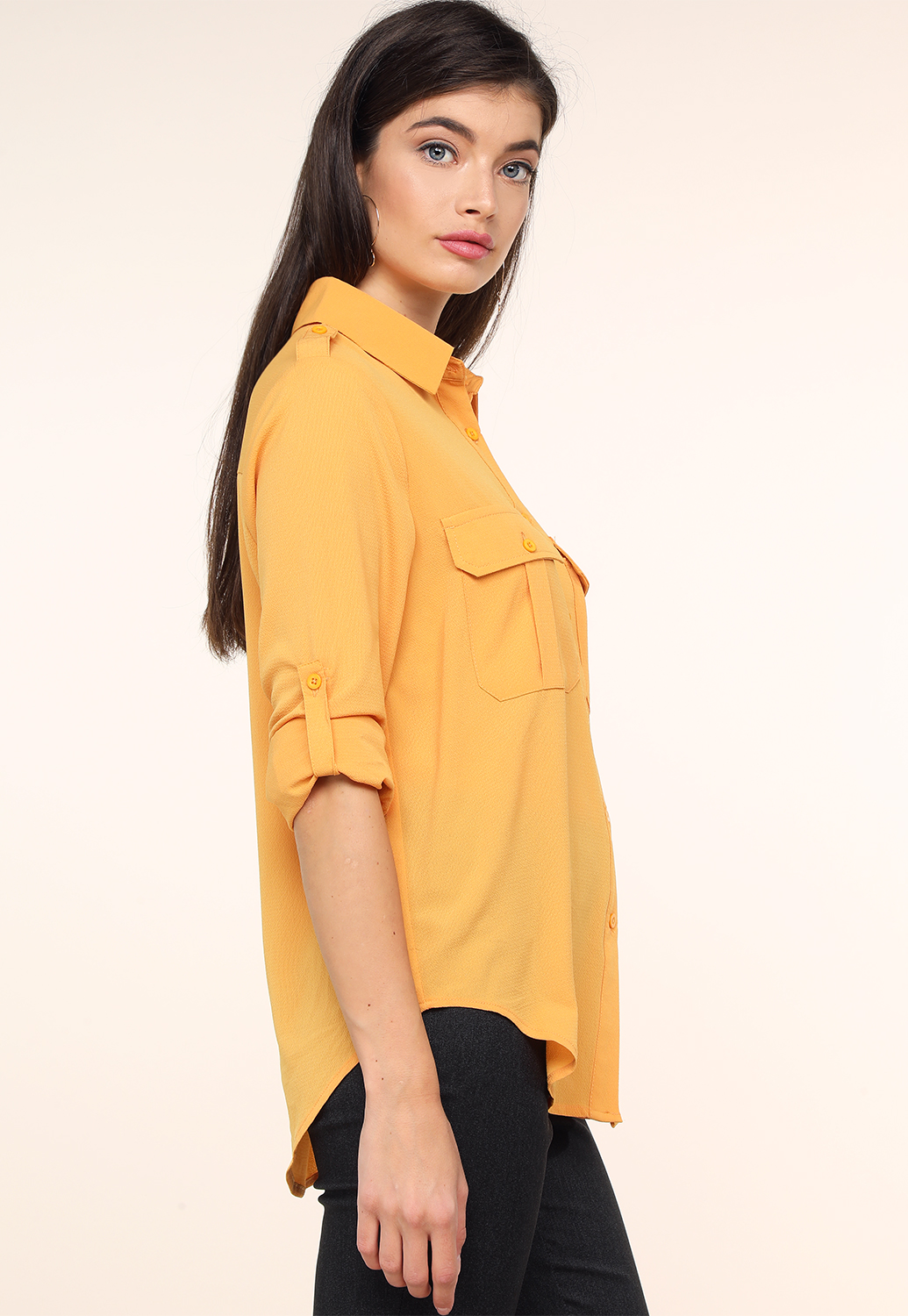 Button Up Long Sleeve Dressy Top