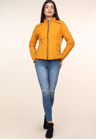 Zipper Up Quilted Puffer Jacket
