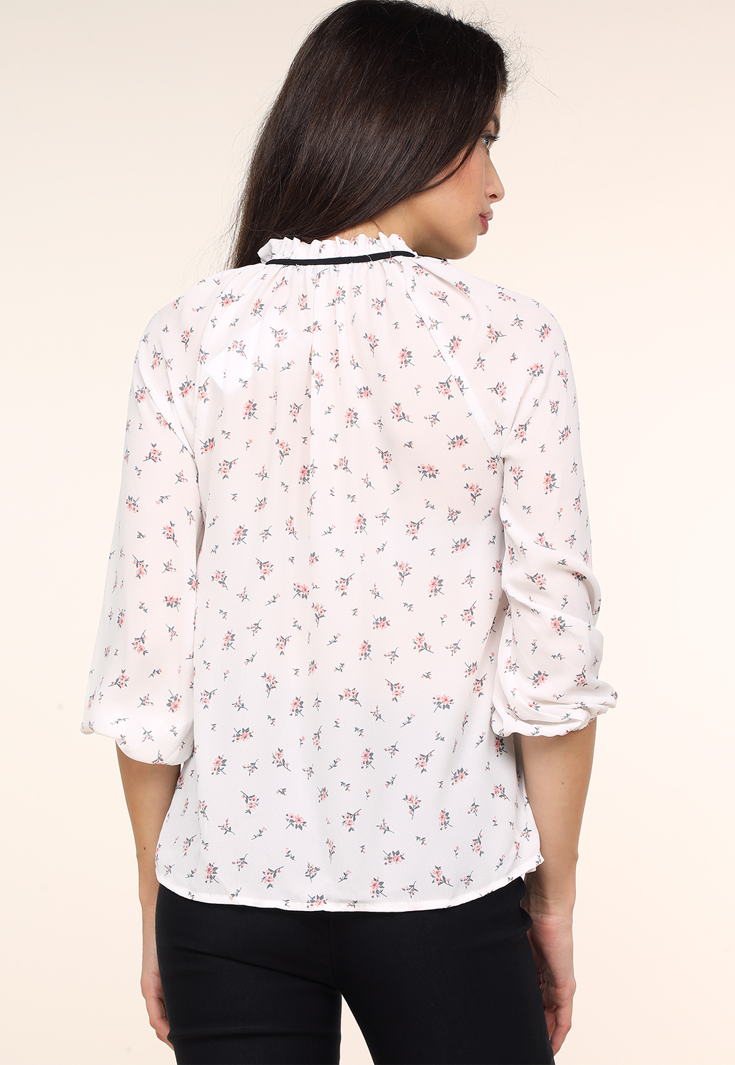 Floral Neck Time Dressy Blouse