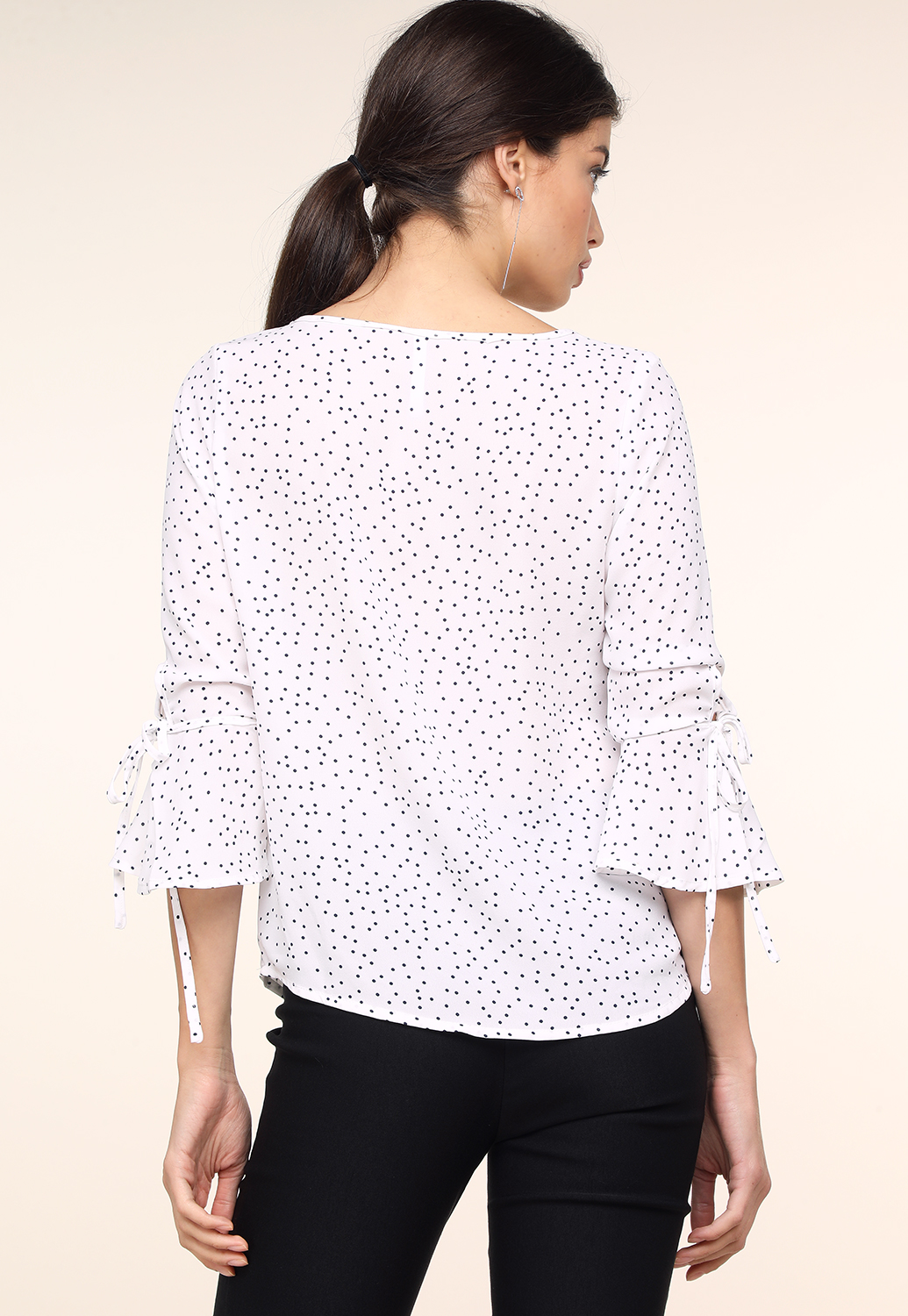 Polka Dot Long Sleeve Ruffle Detail Top