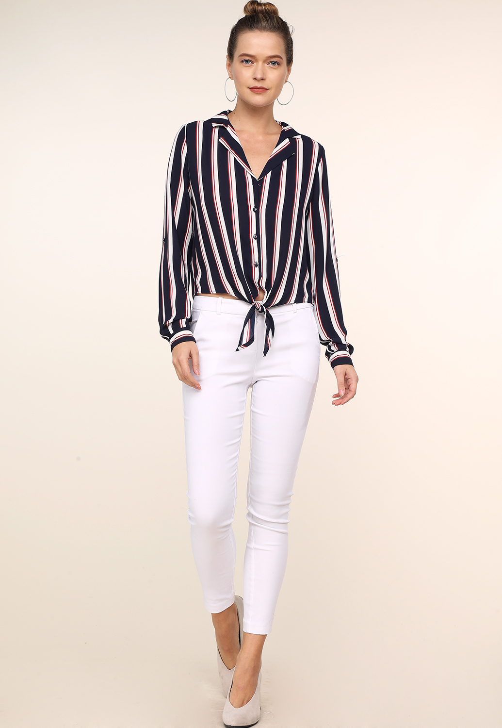 Pinstriped Button Up Blouse