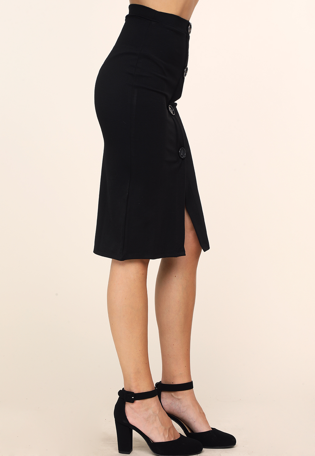 Front Button Detail Pencil Skirt