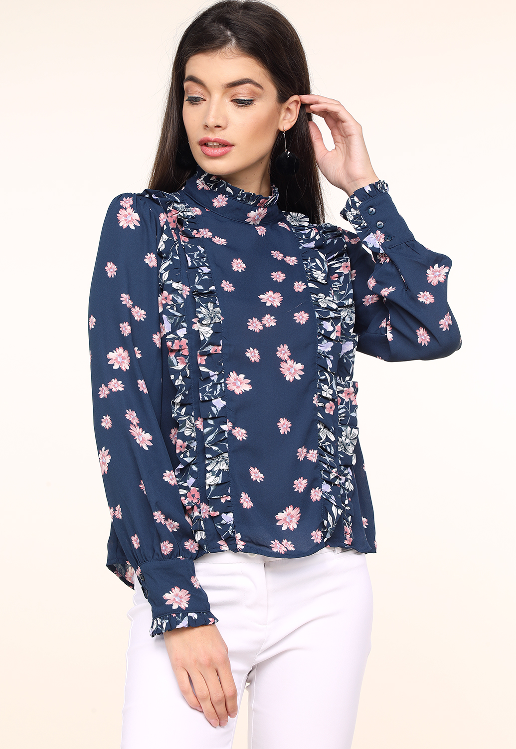 Floral Ruffle Detail Blouse