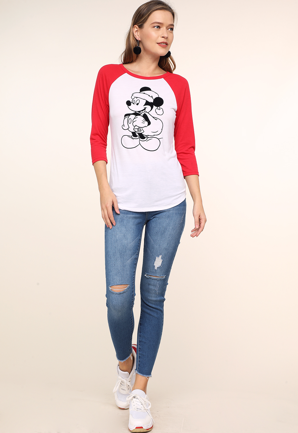 Santa Mickey Mouse Print Top