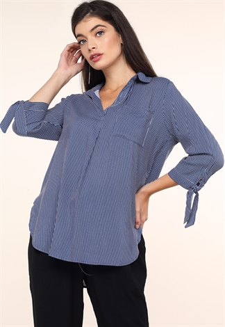 Pinstriped V-Neck Top