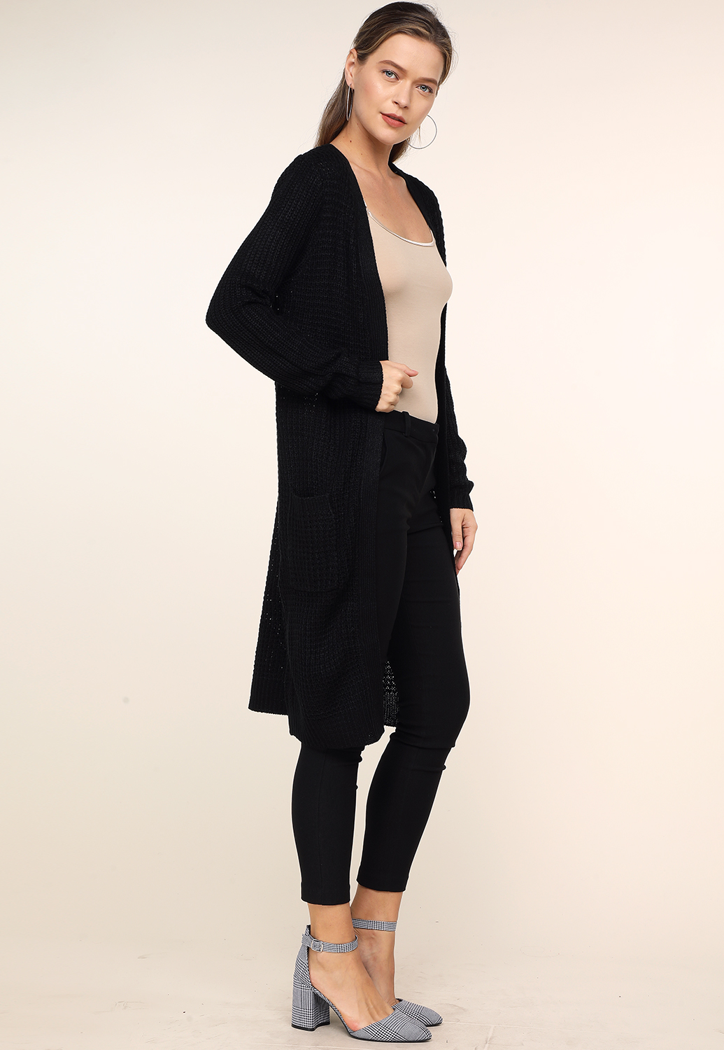Open-Front Long Cardigan