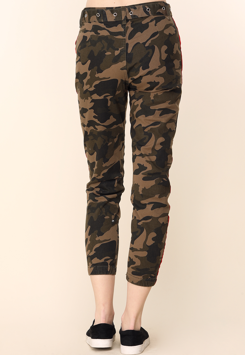 Camo Sde Lined Pants With Belt