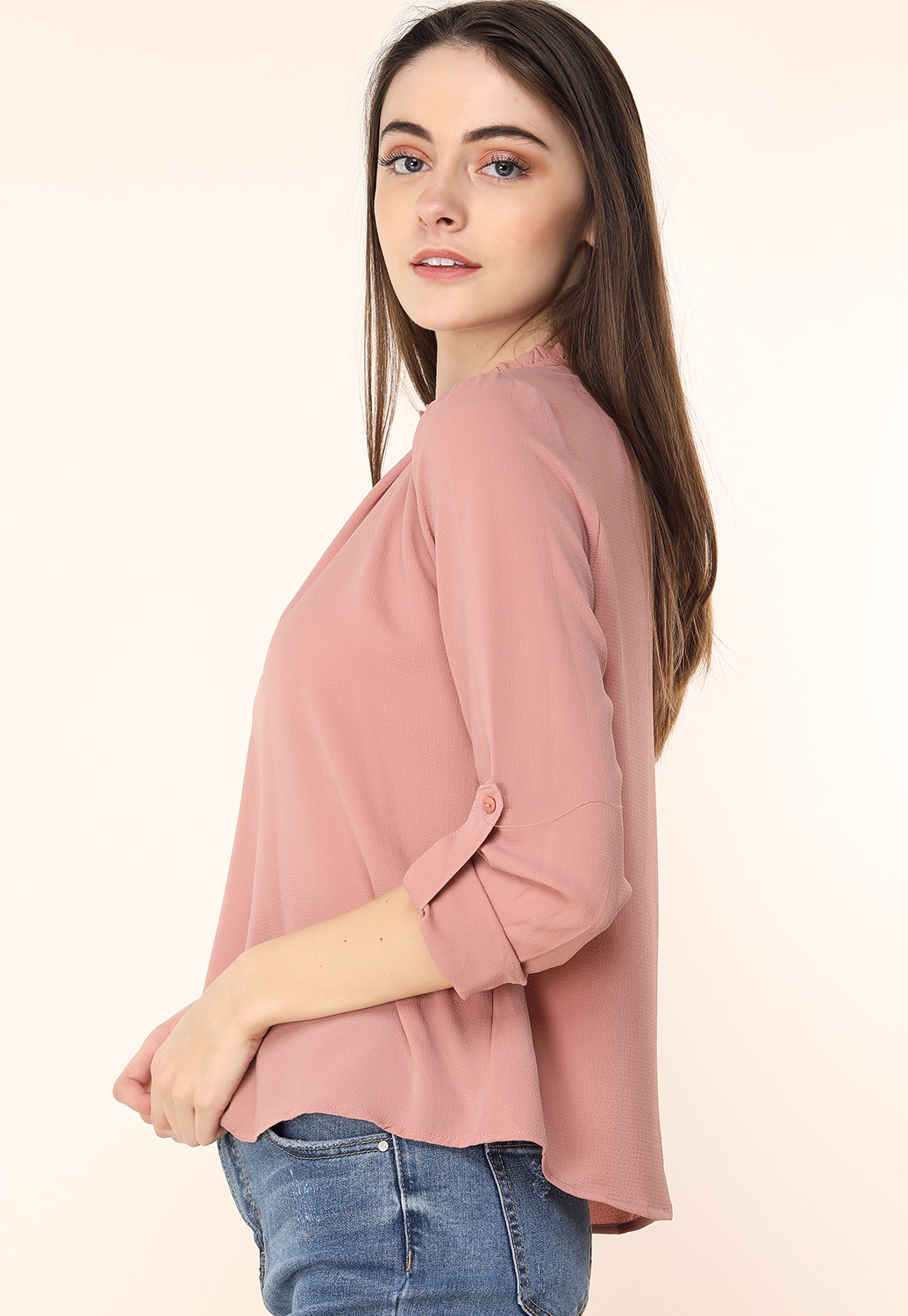 Ruffle Neck Detail Dressy Top