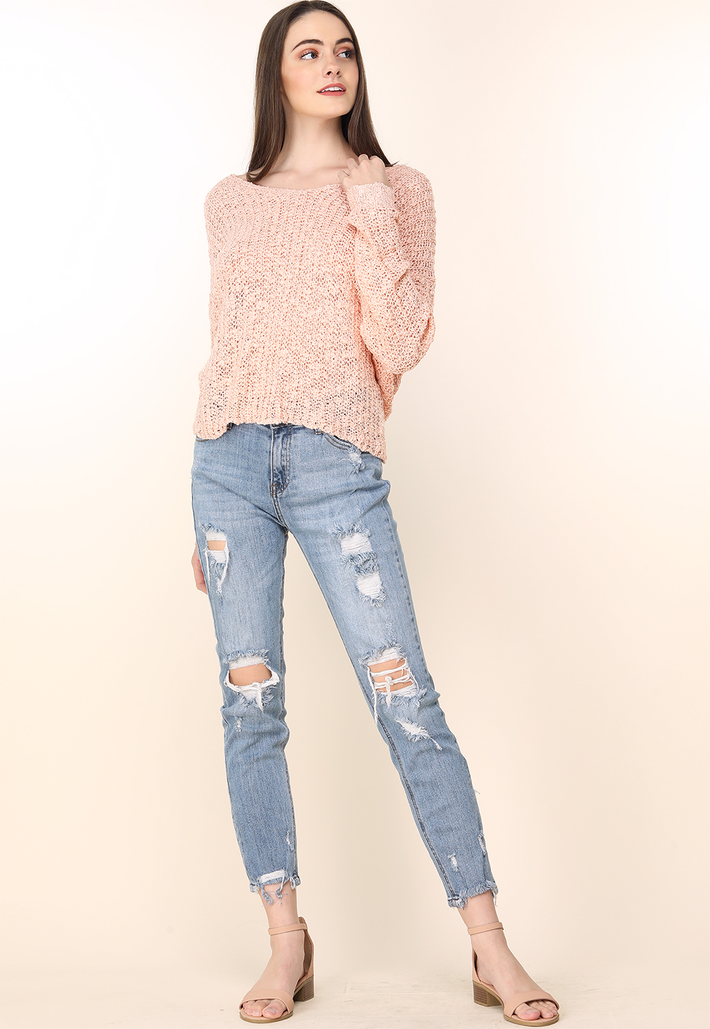 Distressed High Rise Jeans