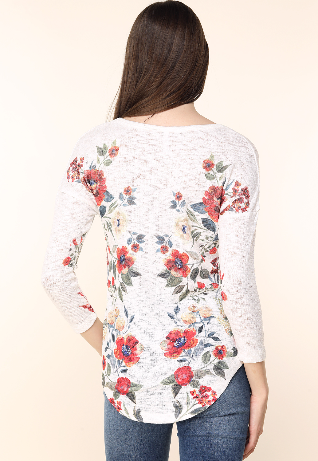 Floral Print Knit Casual Top