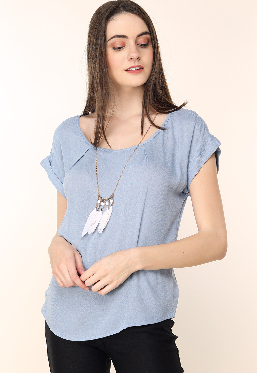 Dressy Top W/ Feather Necklace