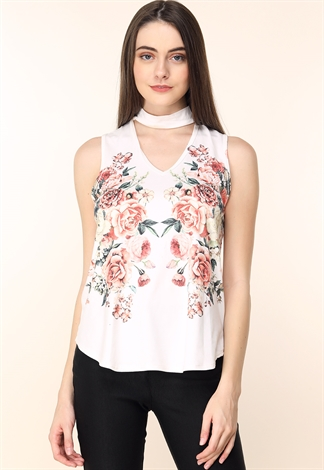 Choker Cutout Floral Top
