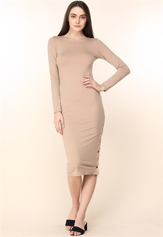 Side Boutton Detail Dress