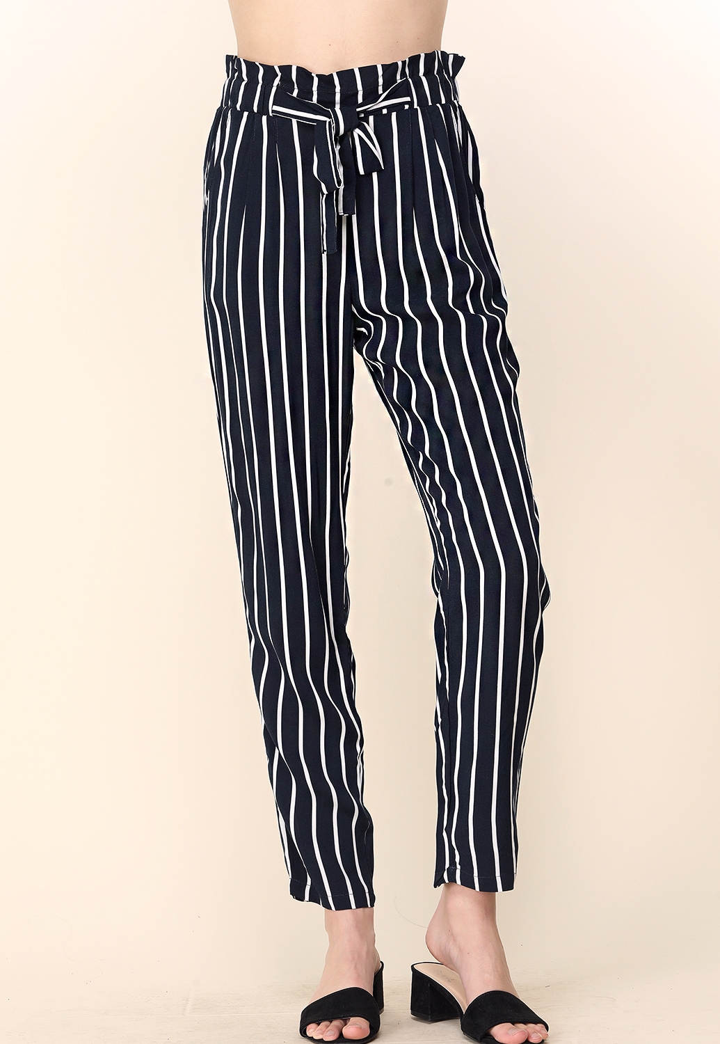 Pinstriped Tie Front Casual Pants