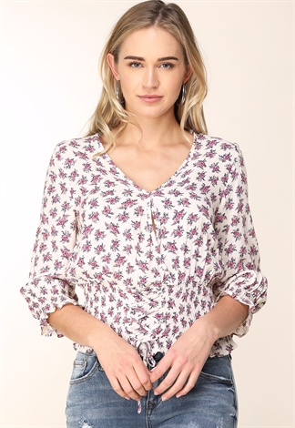 Floral Front Ruched Top