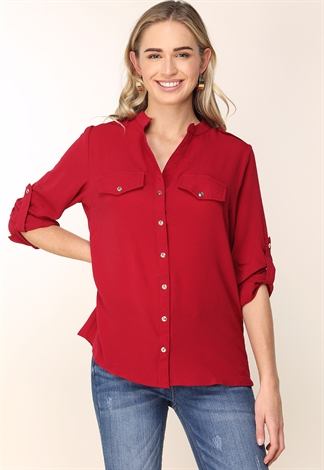 Long Sleeve Button Up Blouse