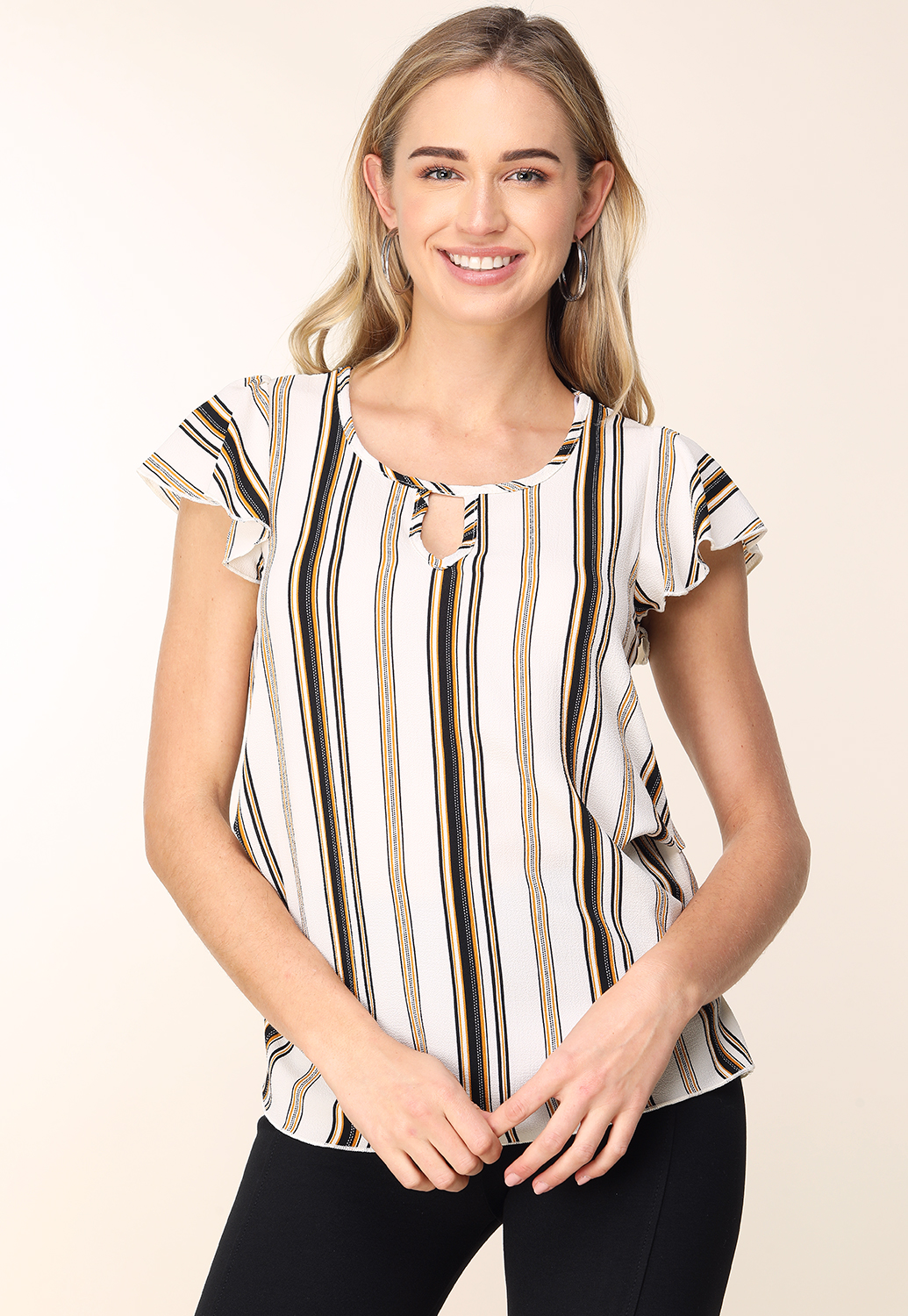 Pinstriped Keyhole Detail Top
