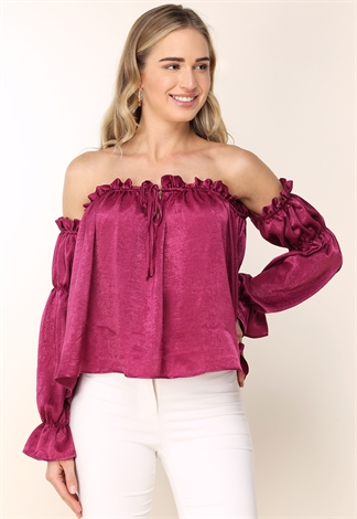 Off The Shoulder Ruffle Detail Top
