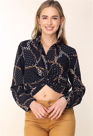 Chain Pattern Twist-Front Blouse