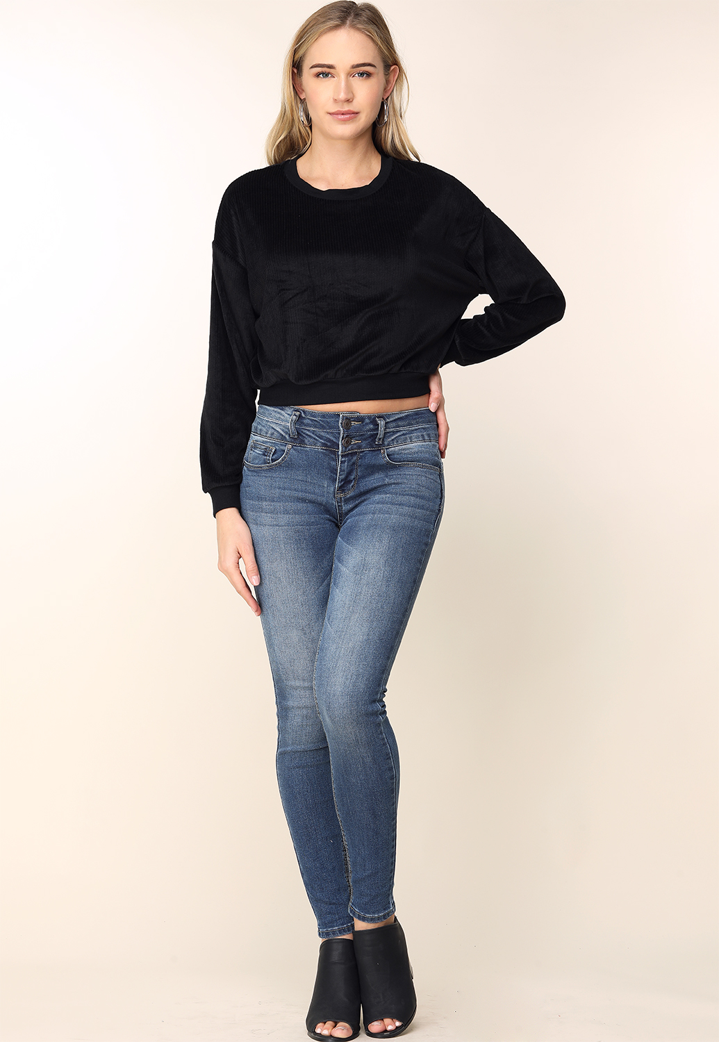 Two-Button Skinny Jeans