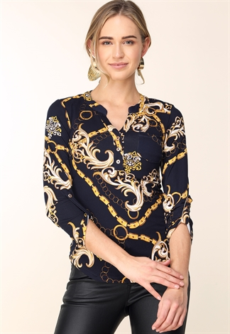 Ornate Print Long Sleeve Top